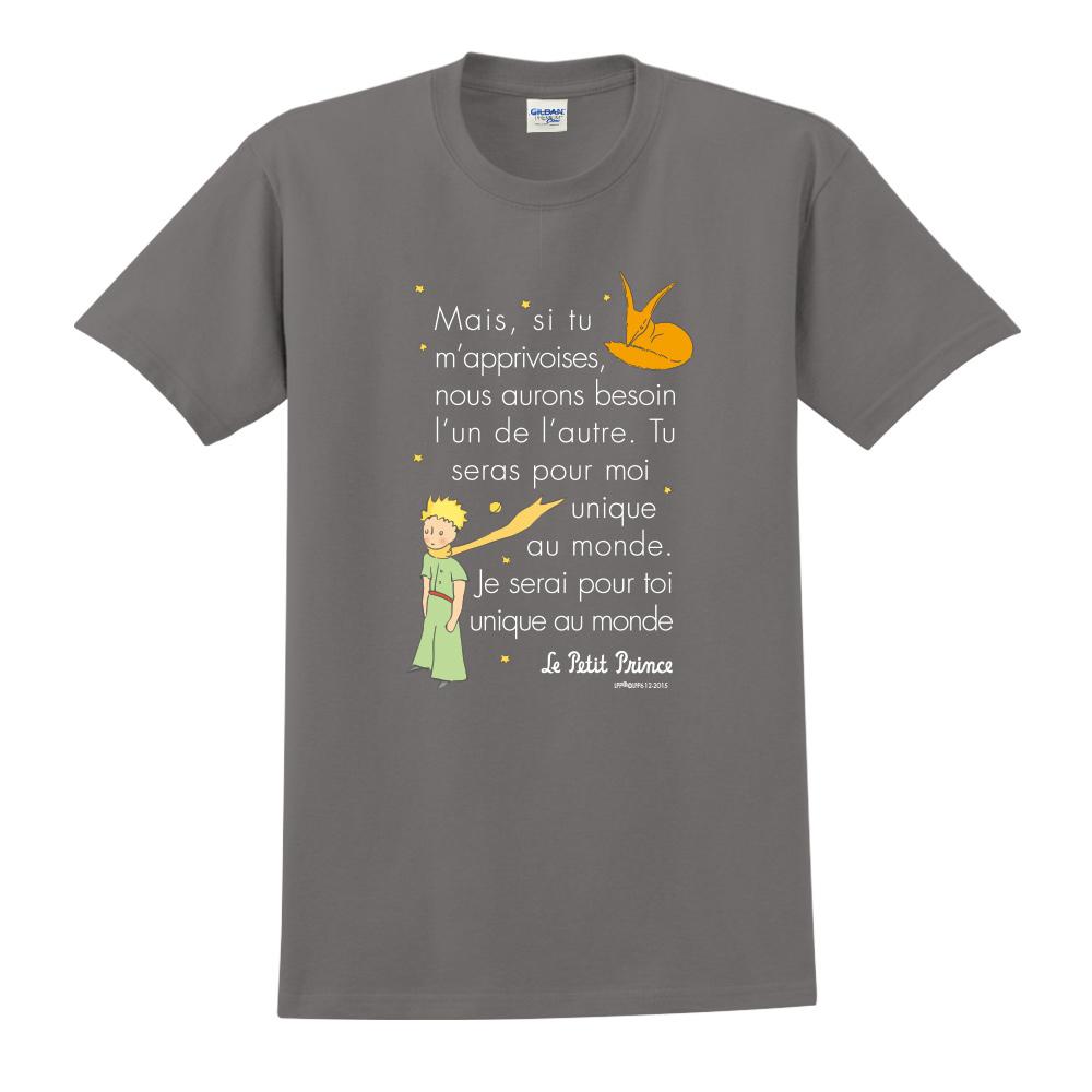YOSHI850|小王子經典版授權【對我來說你是獨一無二】短袖中性T-shirt (深灰)