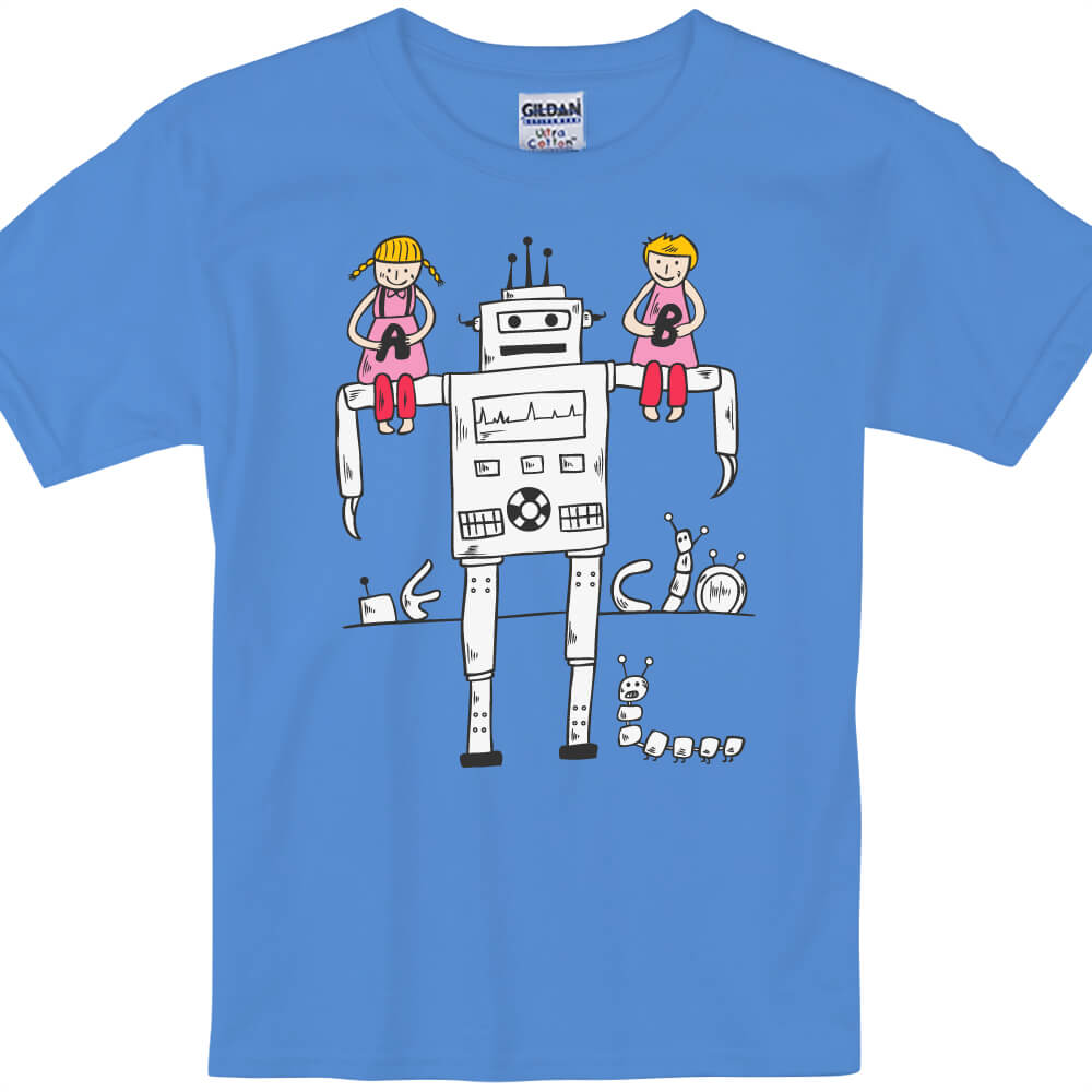YOSHI850 新創設計師850 Collections【機器人好朋友】短袖兒童T-shirt (寶石藍)
