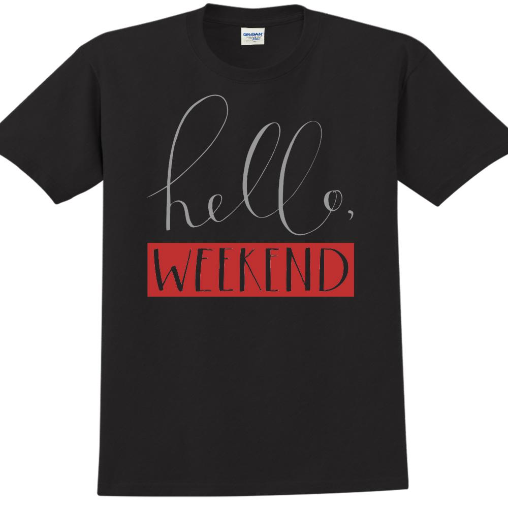 YOSHI850|新創設計師850 Collections【Hello weekend】短袖成人T-shirt (黑)