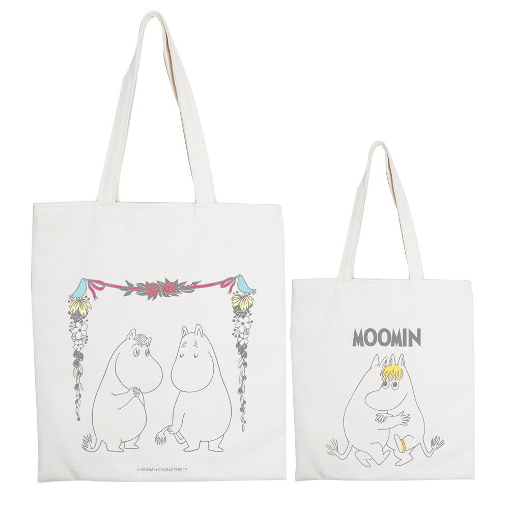 YOSHI850|Moomin嚕嚕米正版授權:手提購物包【愛慕】 米白/麻黃