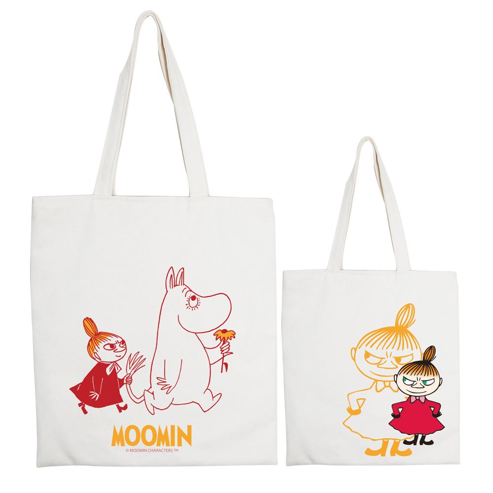 YOSHI850 Moomin嚕嚕米正版授權:手提購物包【跟屁蟲】 米白/麻黃