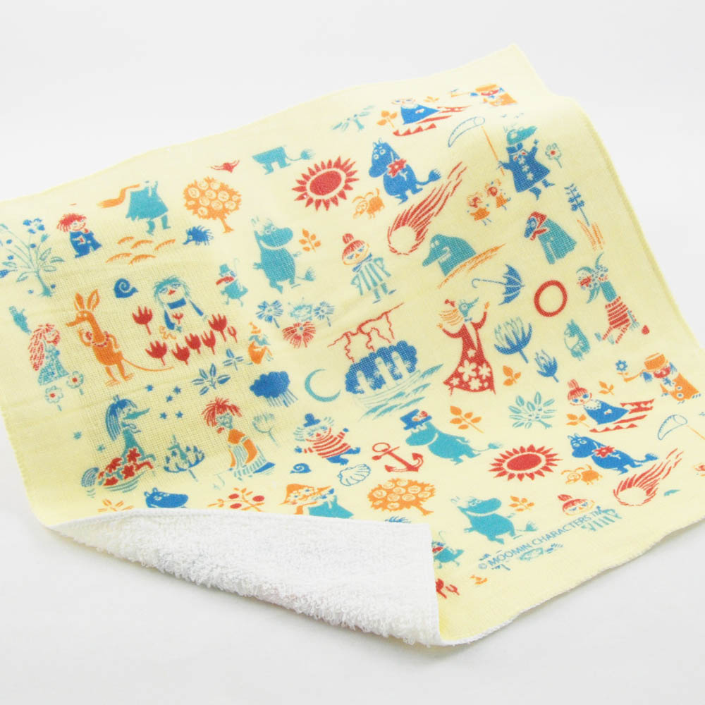 YOSHI850 Moomin嚕嚕米正版授權:柔棉小方巾【歡樂谷的夏日】