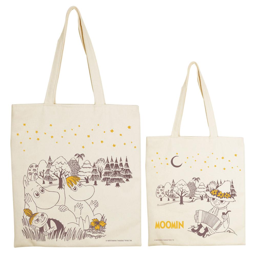 YOSHI850|Moomin嚕嚕米正版授權:手提購物包【仲夏之夜】 米白/麻黃