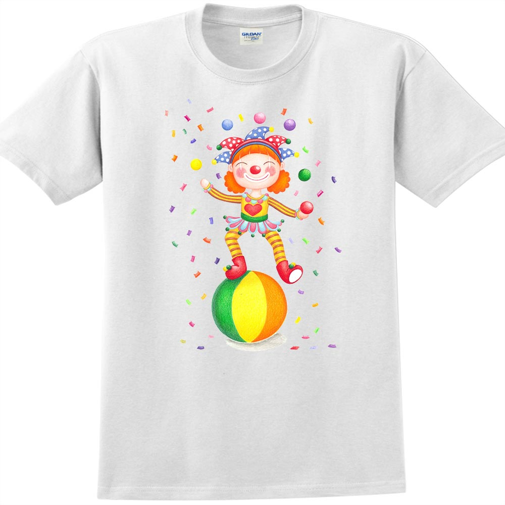 YOSHI850|新創設計師Sabrina【愛情小丑】短袖成人T-shirt (白)