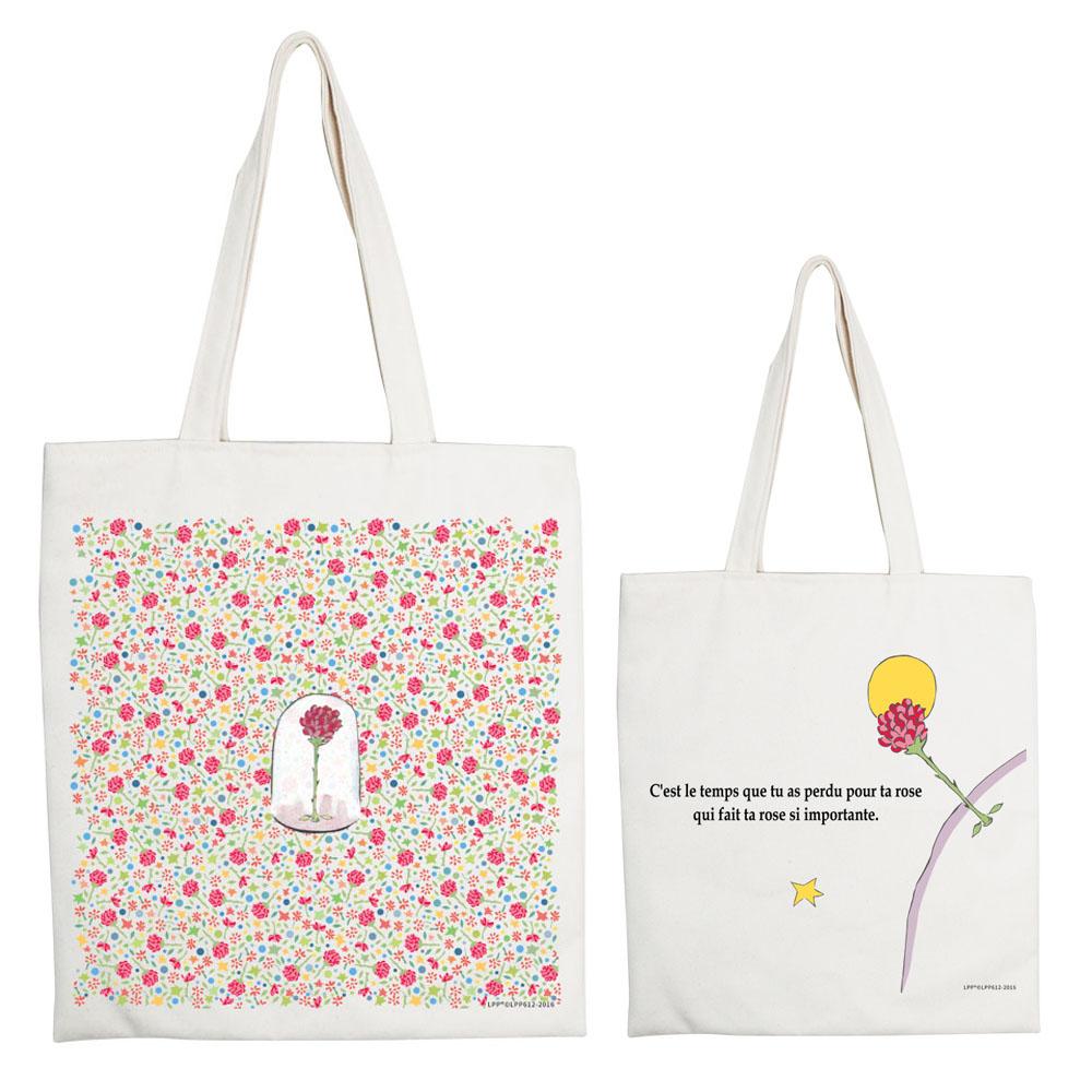 YOSHI850|小王子經典版授權系列:手提購物包【花花世界的呢喃】米白/麻黃