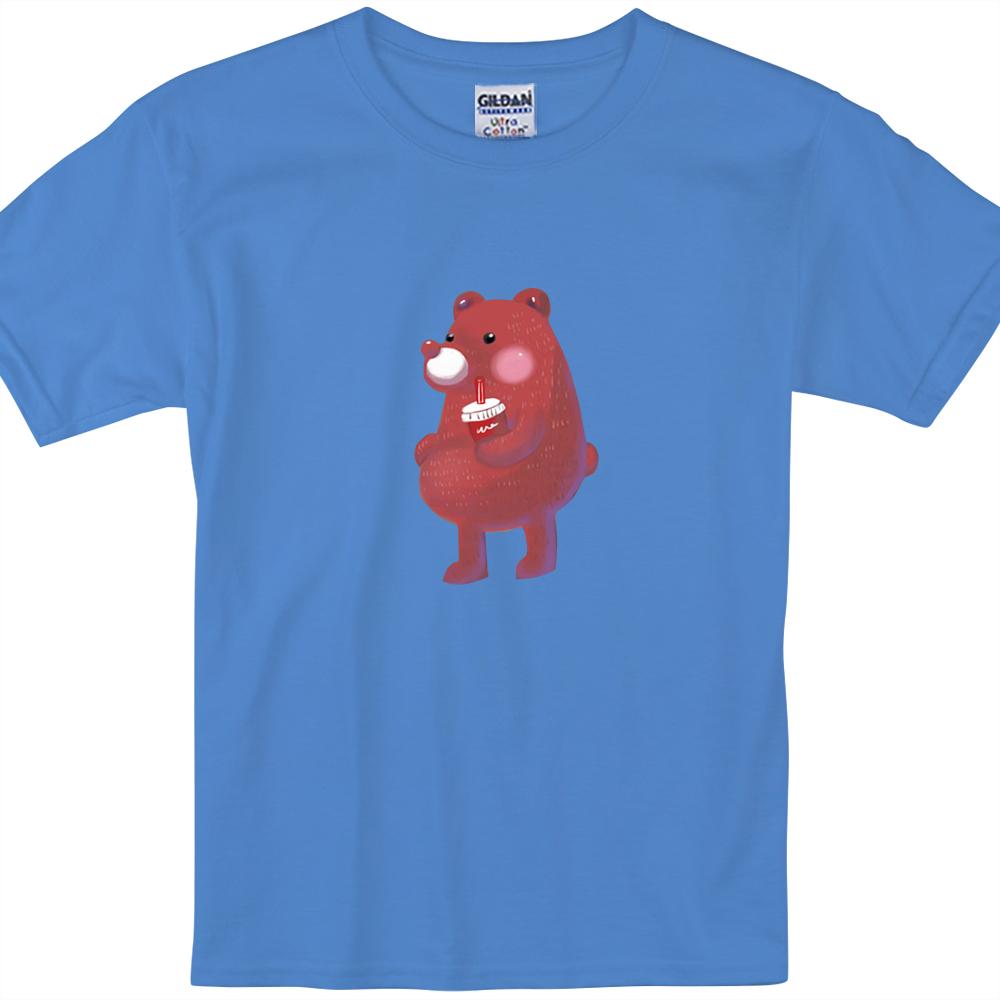 YOSHI850|新創設計師陳小安【熊】短袖兒童T-shirt(寶石藍)