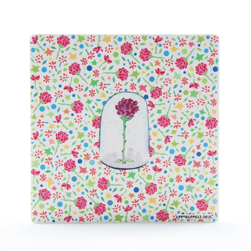 YOSHI850|經典小王子正版授權:吸水杯墊【玻璃罩裡的玫瑰花】(方.圓)