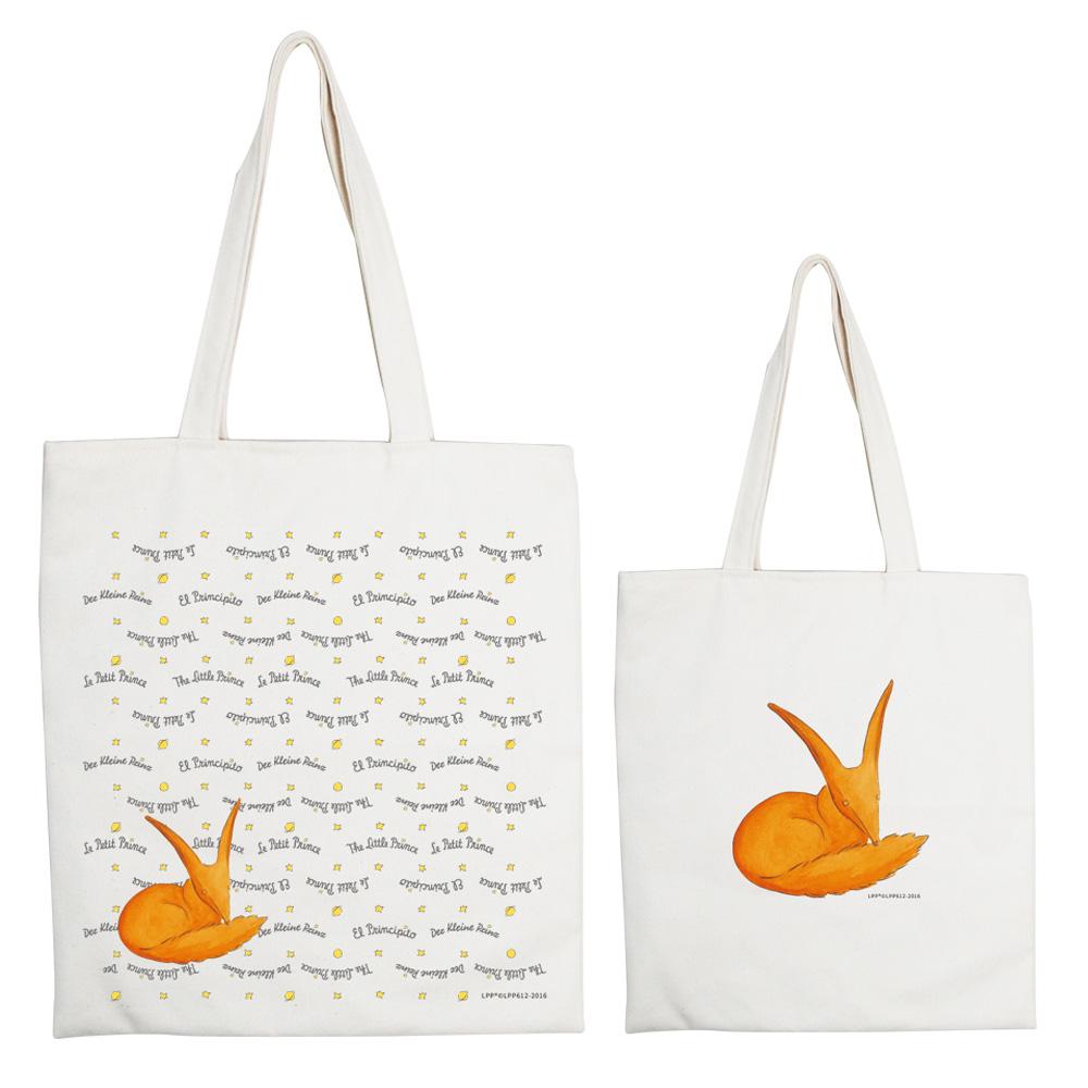 YOSHI850|小王子經典版授權系列:手提購物包【狐狸】米白/麻黃