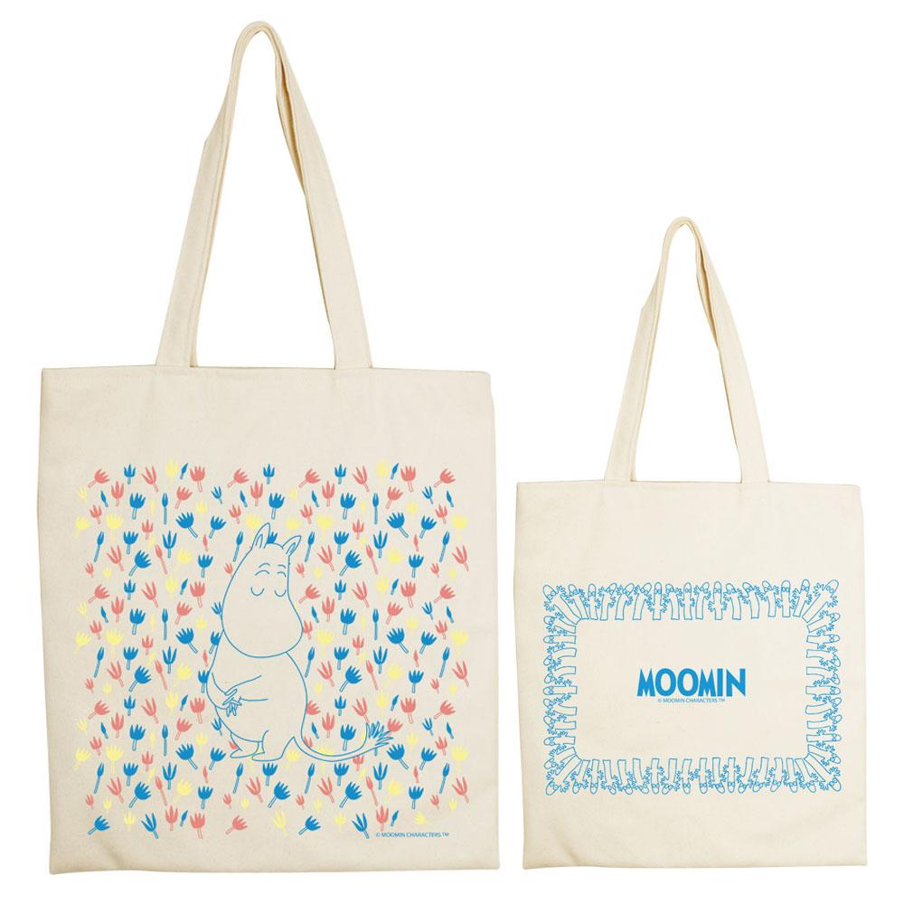 YOSHI850 Moomin嚕嚕米正版授權:手提購物包【Moomin精靈】 米白/麻黃