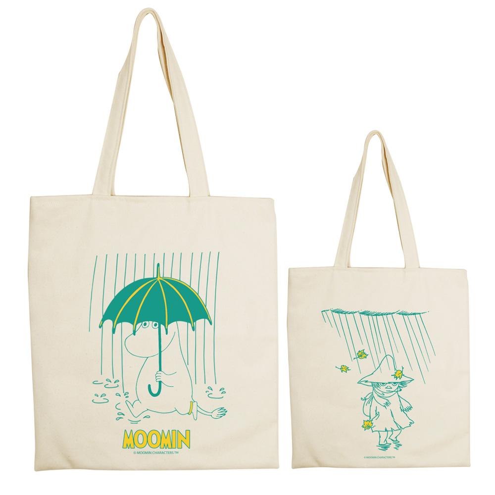 YOSHI850|Moomin嚕嚕米正版授權:手提購物包【雨中散步】 米白/麻黃