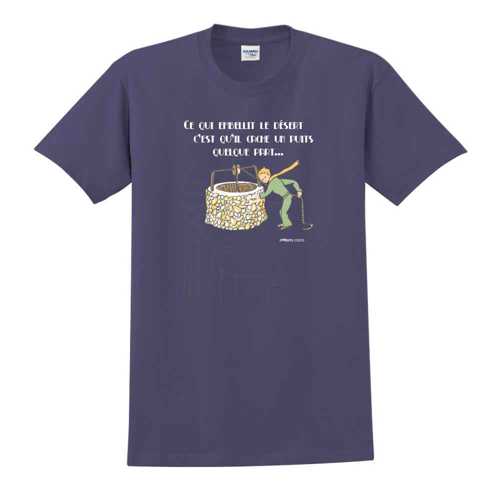 YOSHI850|小王子經典版授權【讓沙漠美麗的水井】短袖中性T-shirt (藏青)