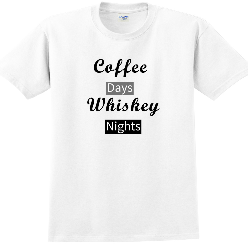 YOSHI850|新創設計師850 Collections【Caffe days Whisky night】短袖成人T-shirt (白)