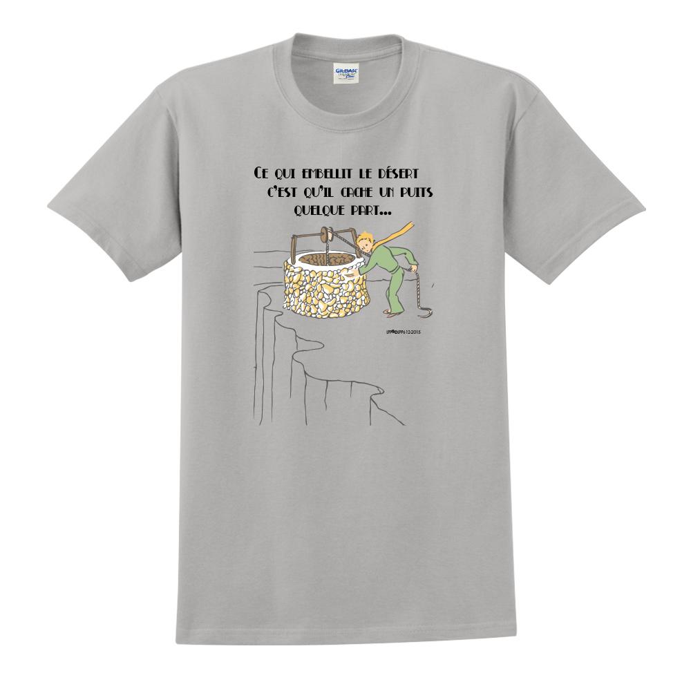 YOSHI850 小王子經典版授權【讓沙漠美麗的水井】短袖中性T-shirt (麻灰)