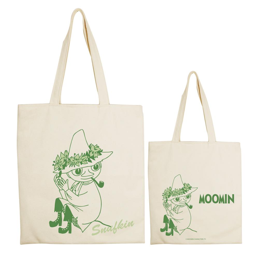 YOSHI850|Moomin嚕嚕米正版授權:手提購物包【Snufkin】 米白/麻黃