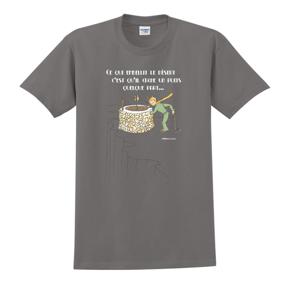 YOSHI850|小王子經典版授權【讓沙漠美麗的水井】短袖中性T-shirt (深灰)