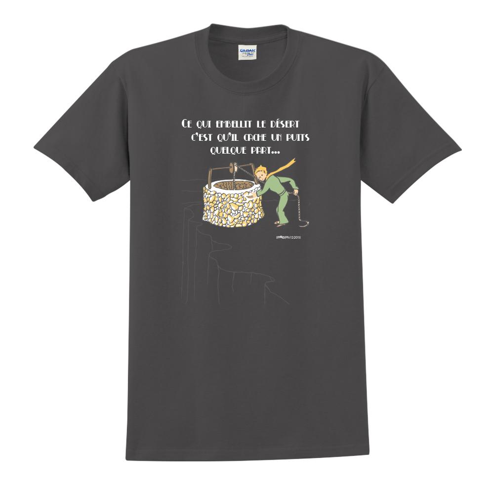YOSHI850|小王子經典版授權【讓沙漠美麗的水井】短袖中性T-shirt (黑)