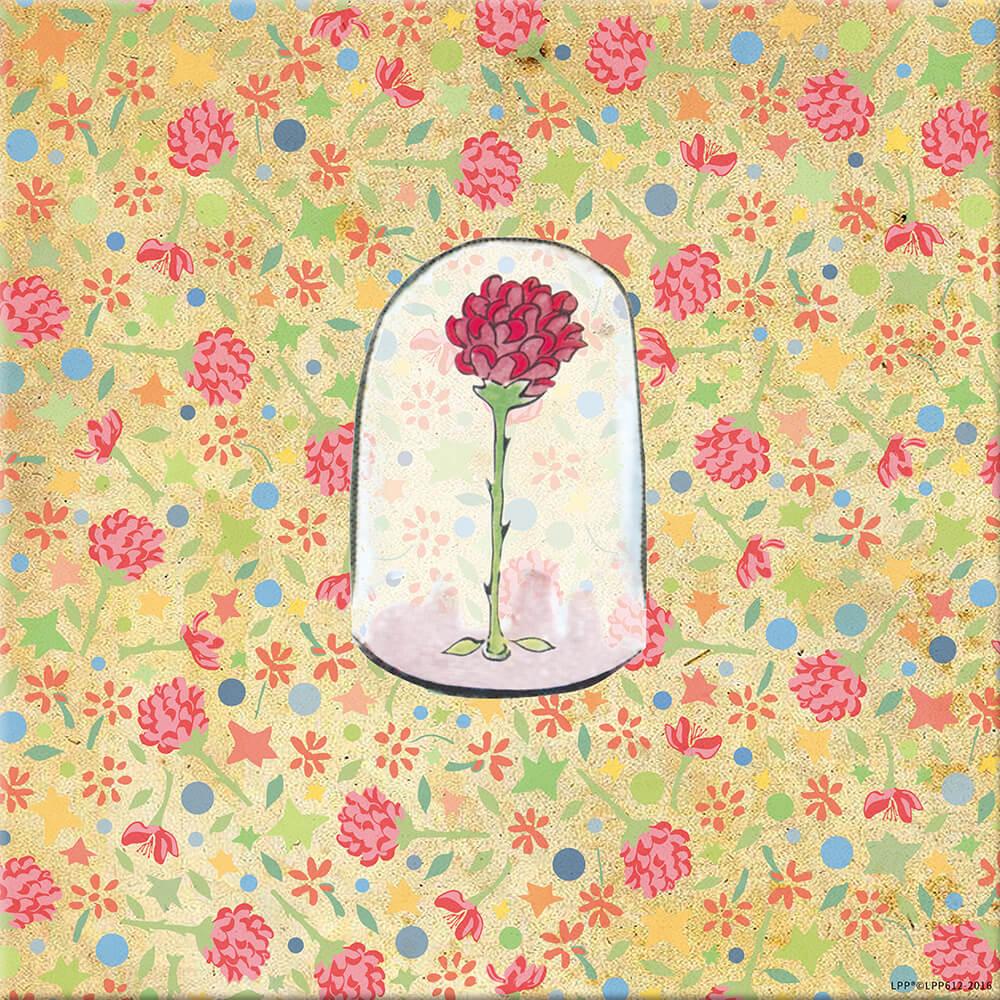 YOSHI850|小王子經典版授權:無框畫【玻璃罩裡的玫瑰花】30×30cm