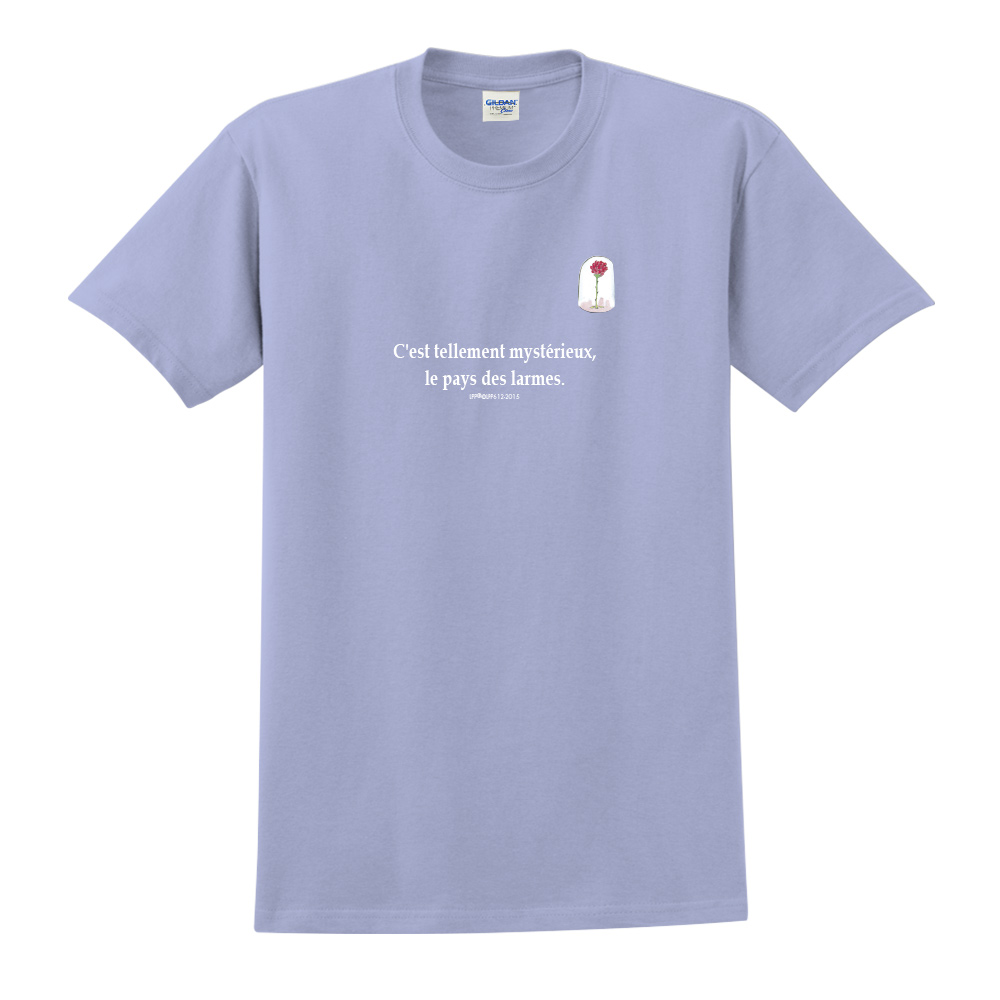 YOSHI850|小王子經典版授權【玻璃罩裡的玫瑰花】短袖中性T-shirt (卡藍)