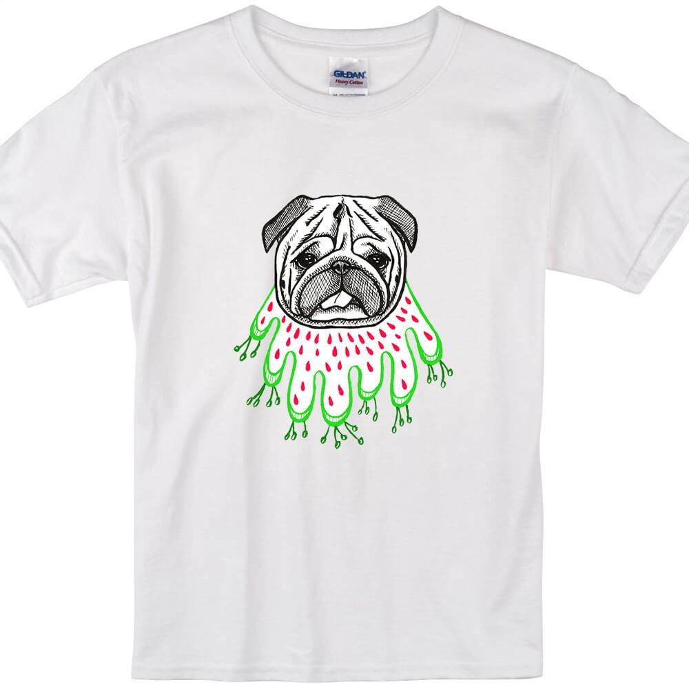 YOSHI850|新創設計師陳小安【草裙巴哥】短袖兒童T-shirt (白)