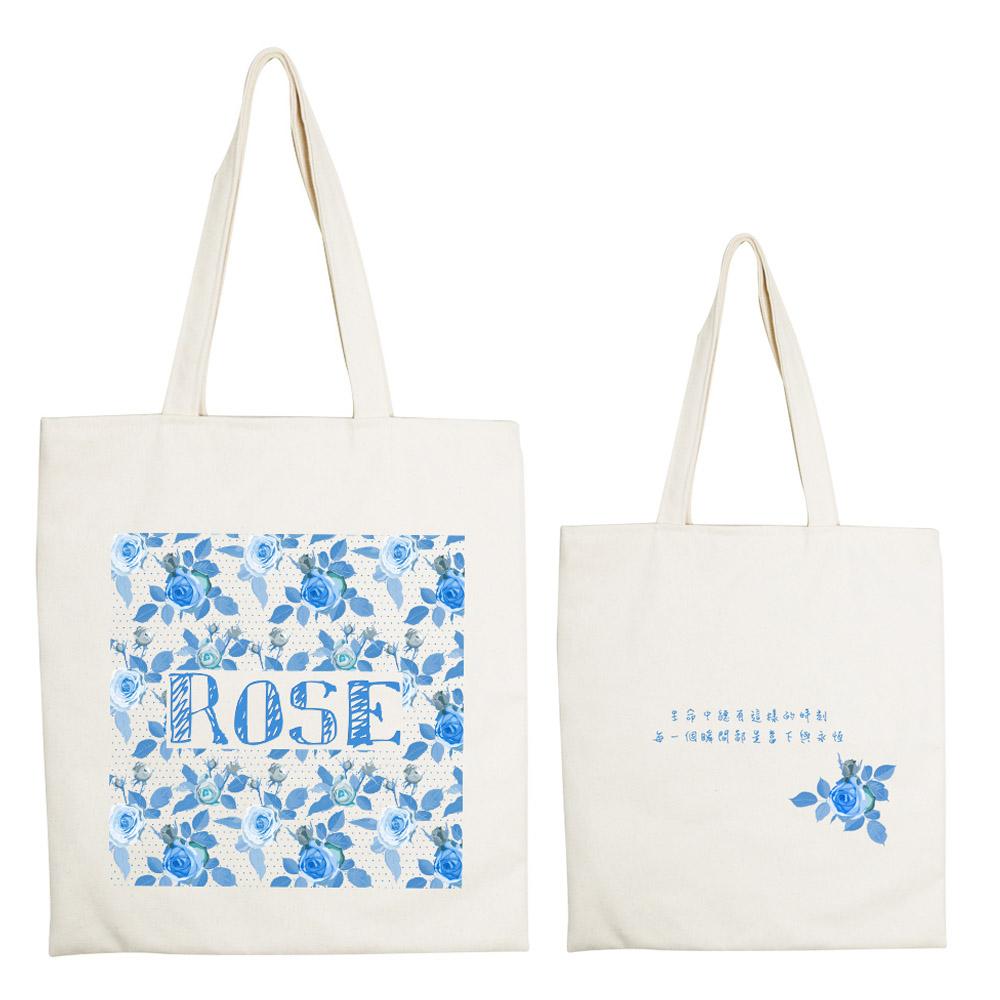 YOSHI850|新創設計師系列:手提購物包【玫開眼笑】米白/麻黃