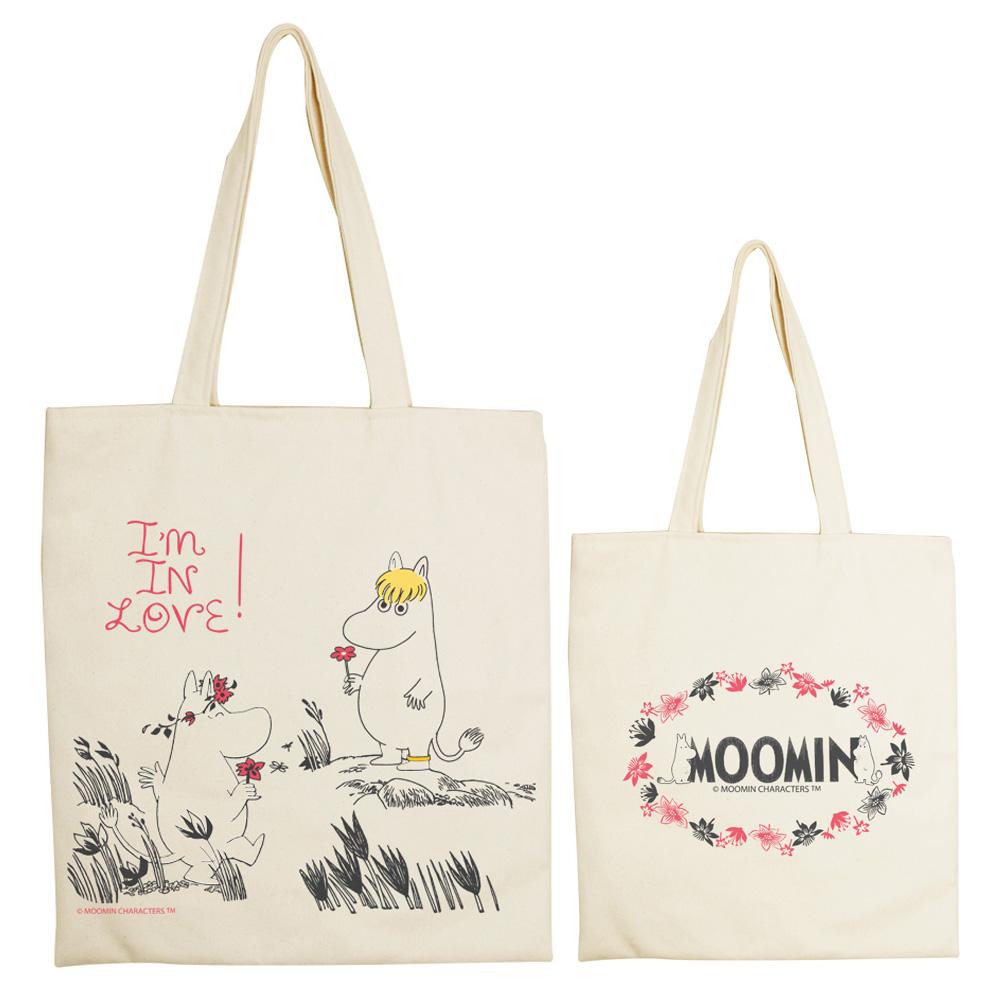 YOSHI850|Moomin嚕嚕米正版授權:手提購物包【獻上我的愛】 米白/麻黃