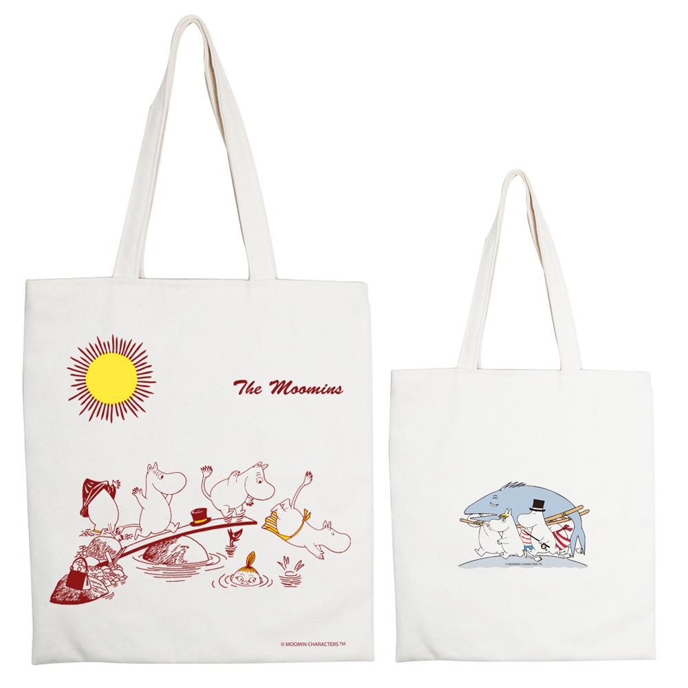 YOSHI850|Moomin嚕嚕米正版授權:手提購物包【The Moomin】 米白/麻黃