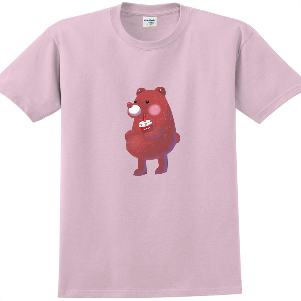 YOSHI850 新創設計師陳小安【熊】短袖成人T-shirt(粉紅/水藍)