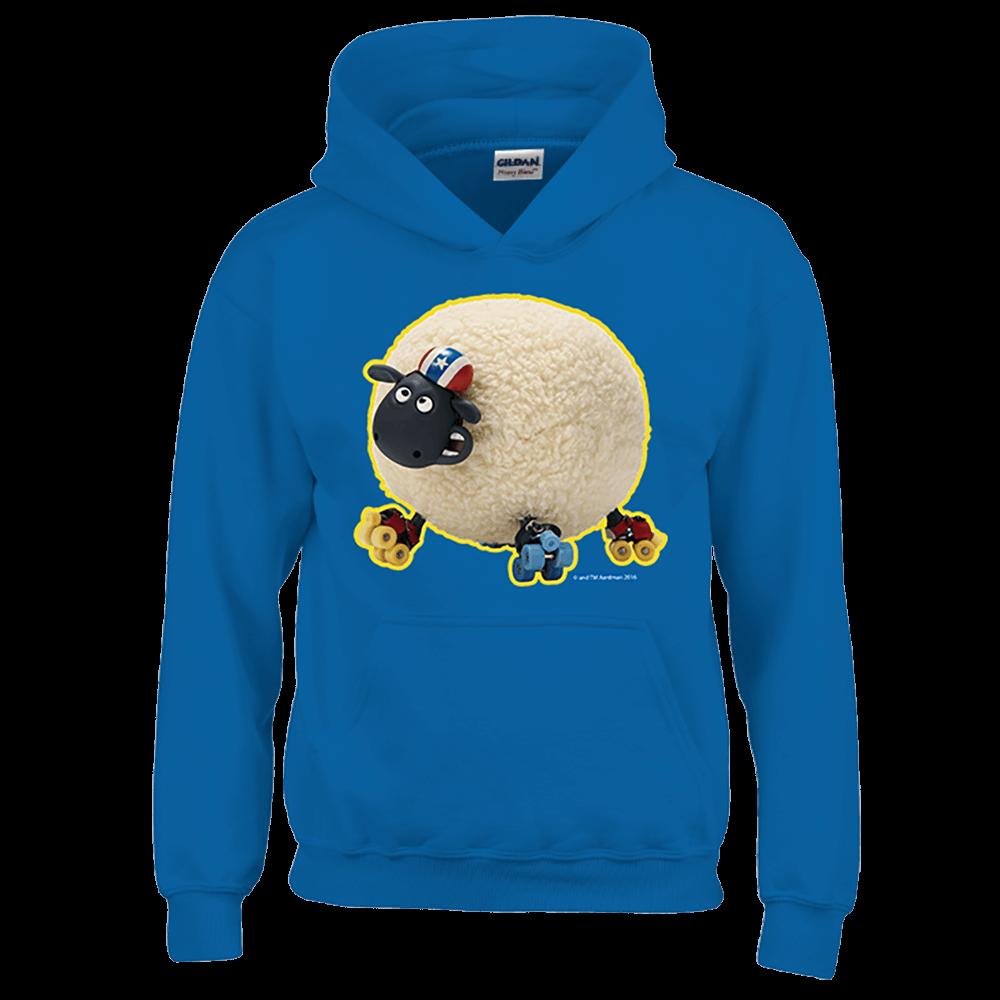 YOSHI850|笑笑羊正版授權:帽T【滑倒的雪莉】成人長袖 T-shirt (寶石藍)