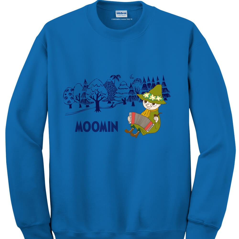 YOSHI850 Moomin嚕嚕米正版授權:大學T【仲夏之夜】成人長袖 T-shirt (寶石藍)