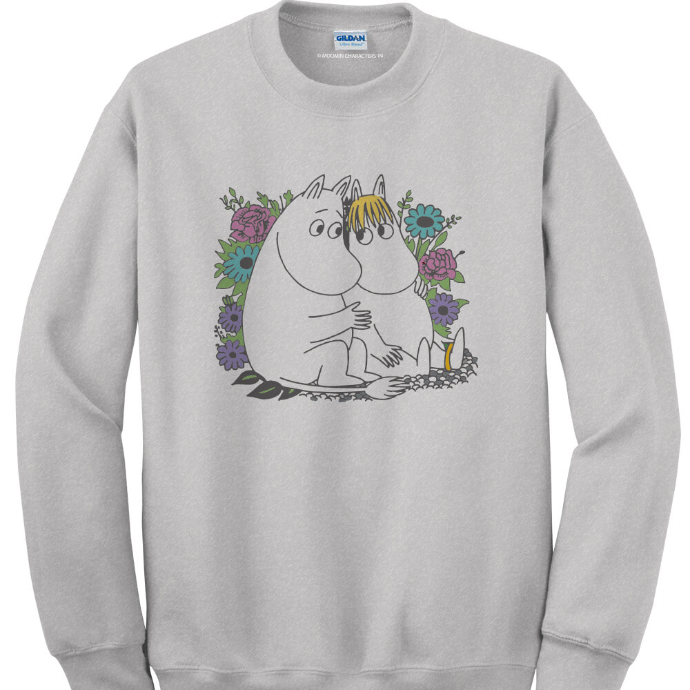 YOSHI850|Moomin嚕嚕米正版授權:大學T【羅曼史】成人長袖 T-shirt (麻灰)
