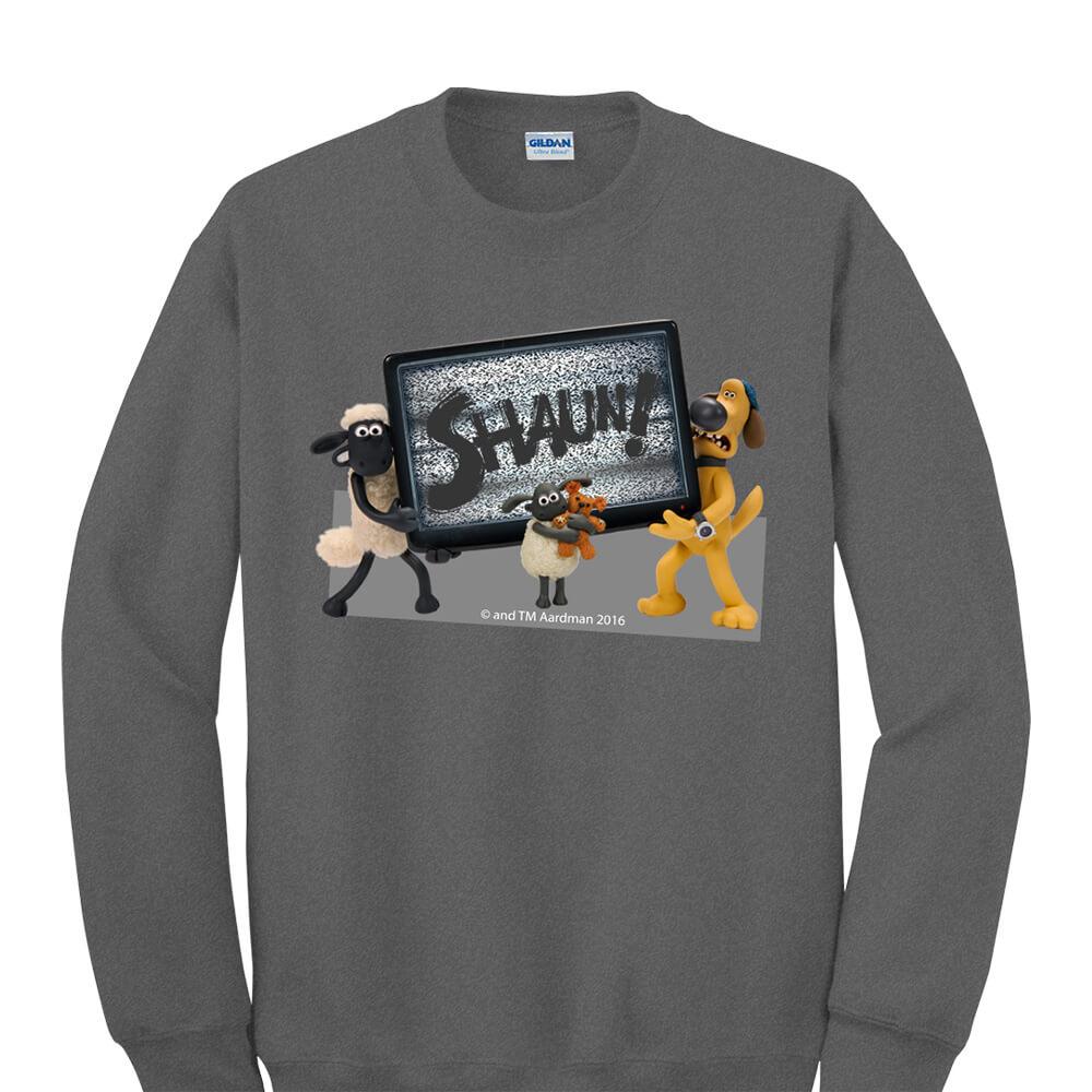 YOSHI850|笑笑羊正版授權:大學T【電視機】成人長袖 T-shirt (石楠灰)
