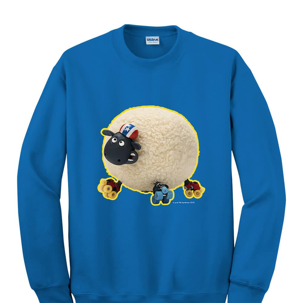 YOSHI850|笑笑羊正版授權:大學T【滑倒的雪莉】成人長袖 T-shirt (寶石藍)