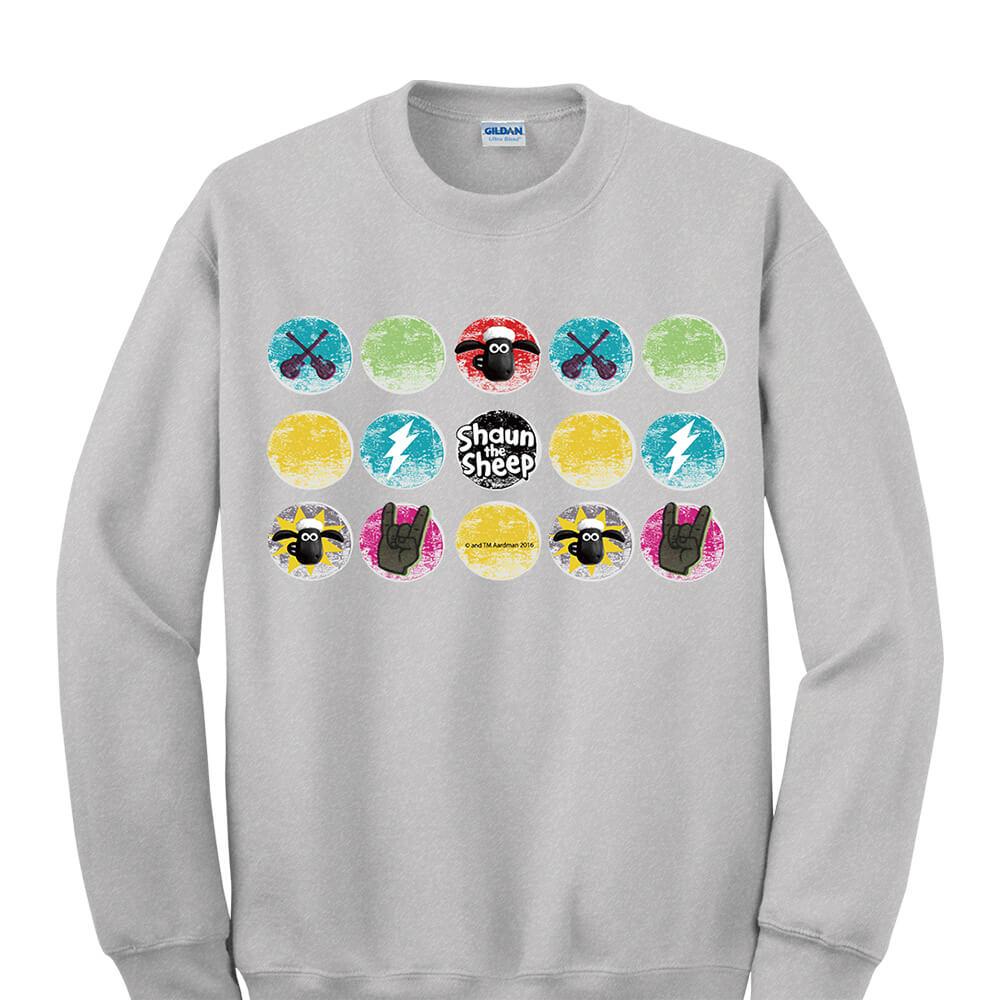 YOSHI850|笑笑羊正版授權:大學T【搖滾時光】成人長袖 T-shirt (麻灰)