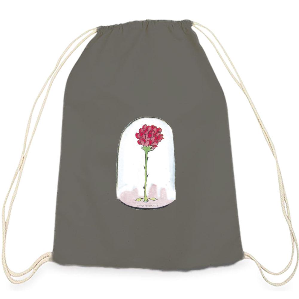 YOSHI850|小王子經典版授權系列:彩色束口後背包【玻璃罩裡的玫瑰花】鐵灰