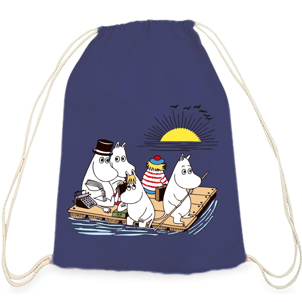 YOSHI850|Moomin嚕嚕米正版授權:彩色束口後背包【 moomin捕魚趣】藏青