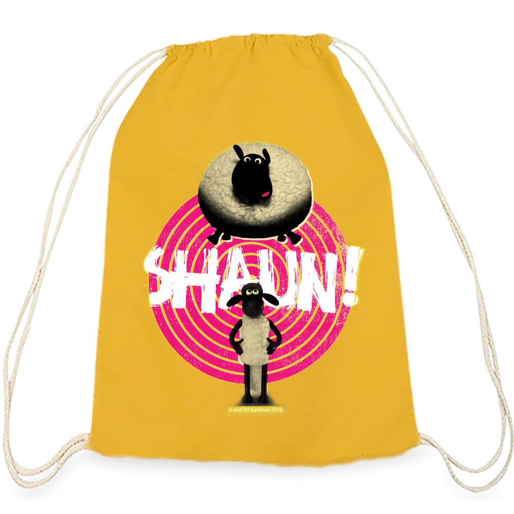 YOSHI850|笑笑羊正版授權:彩色束口後背包【 黑膠唱盤】黃