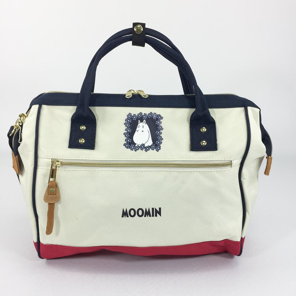 YOSHI850|嚕嚕米正版授權:寬口手提肩背包【藍白紅】