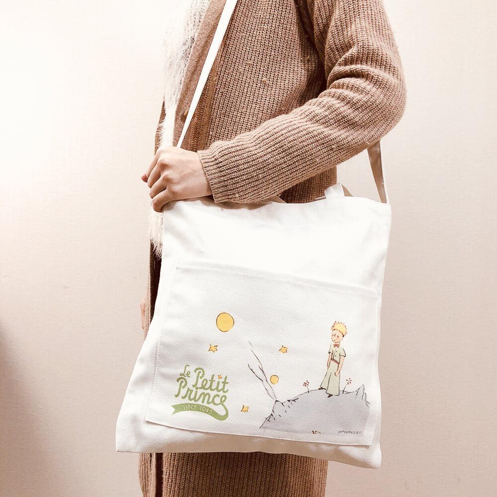 YOSHI850 小王子經典版授權:大口袋購物包【01白】
