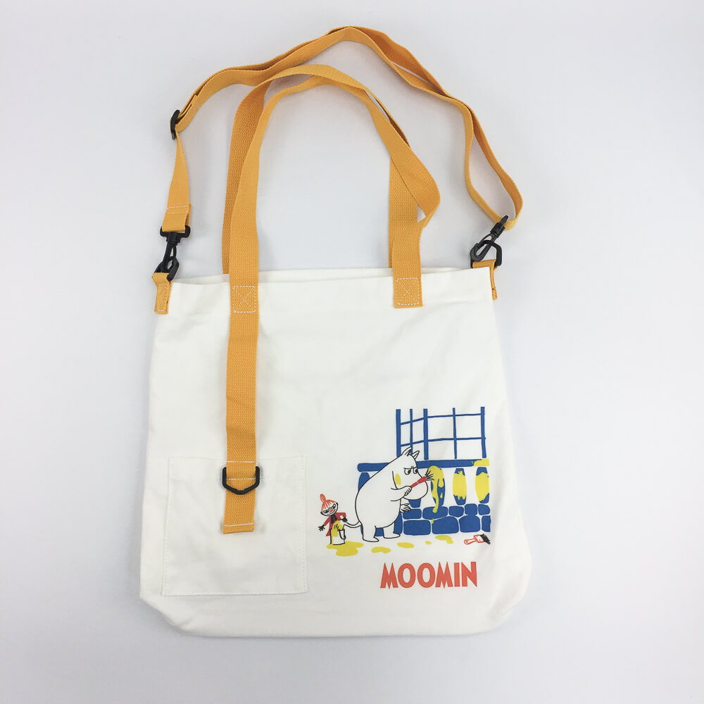 YOSHI850|嚕嚕米正版授權:吊帶款購物包【白黃】