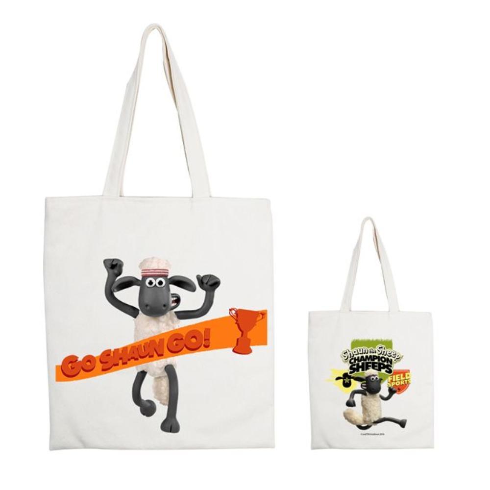YOSHI850|笑笑羊正版授權:手提購物包【07 Go Shaun Go! 】米白/麻黃