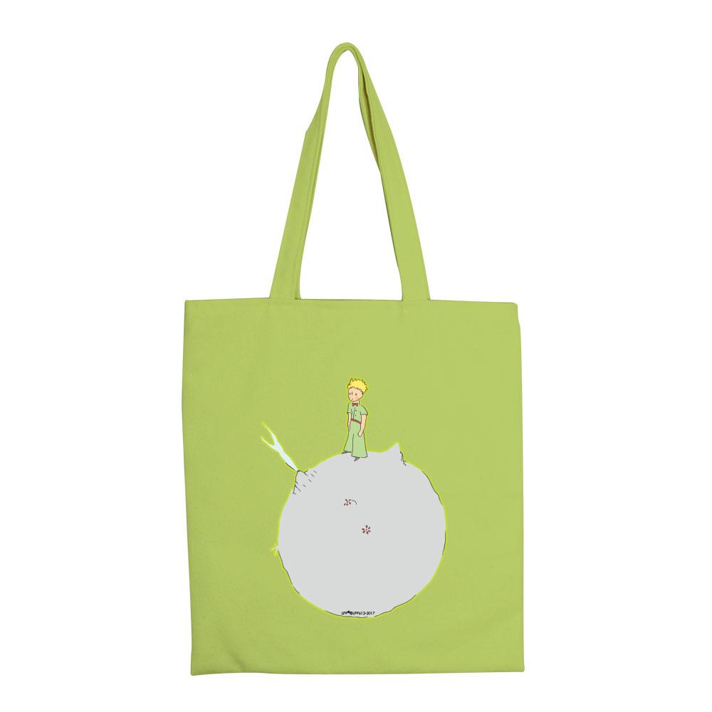 YOSHI850|小王子經典版授權:彩色手提購物包【03另一個星球(果綠) 】