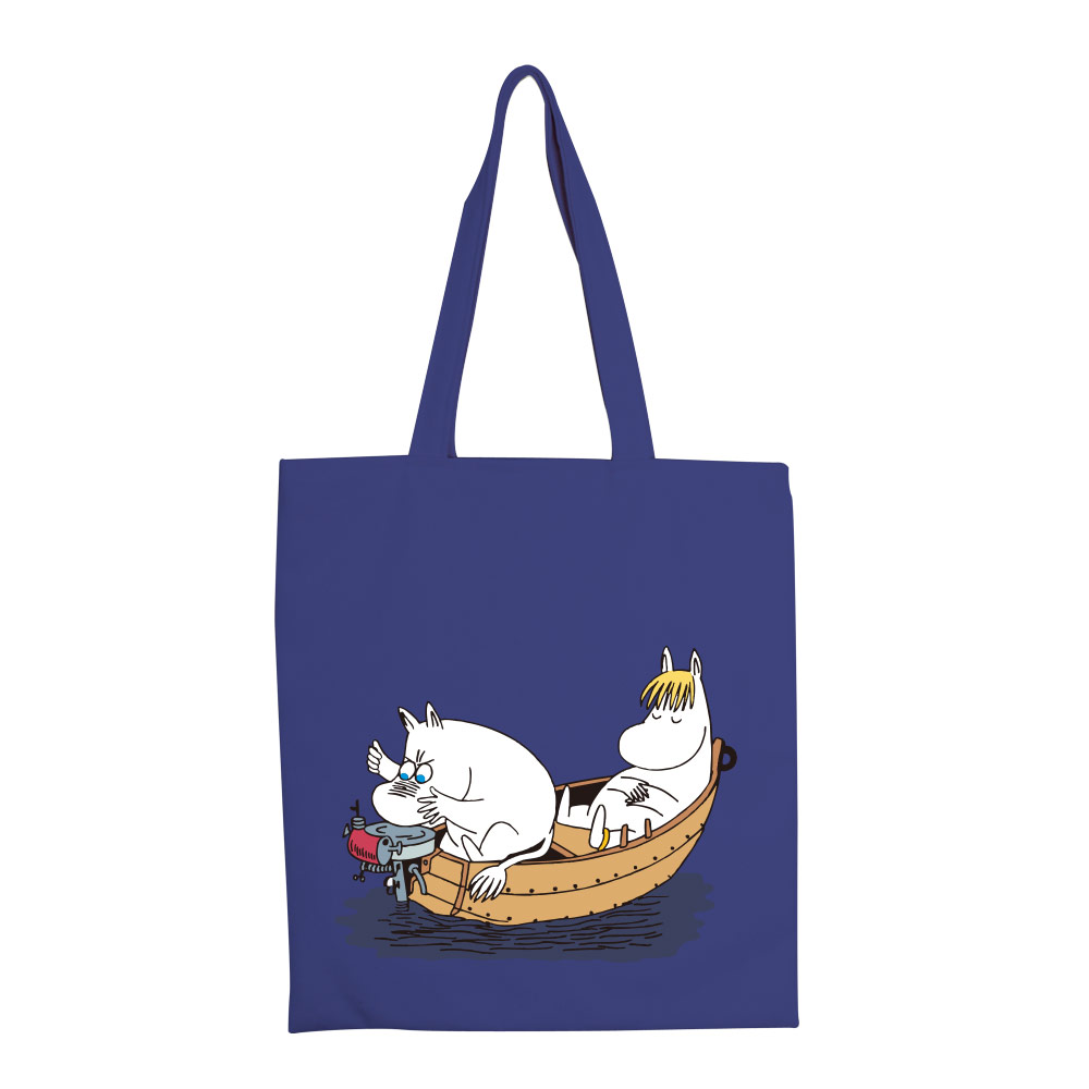 YOSHI850|嚕嚕米正版授權:彩色手提購物包【05 moomin捕魚趣(藏青)】