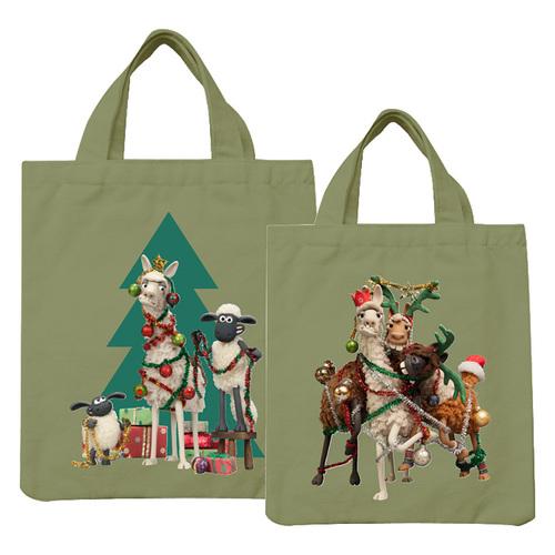 YOSHI850|笑笑羊正版授權:彩色手提小帆布包【10 聖誕快樂(軍綠)】