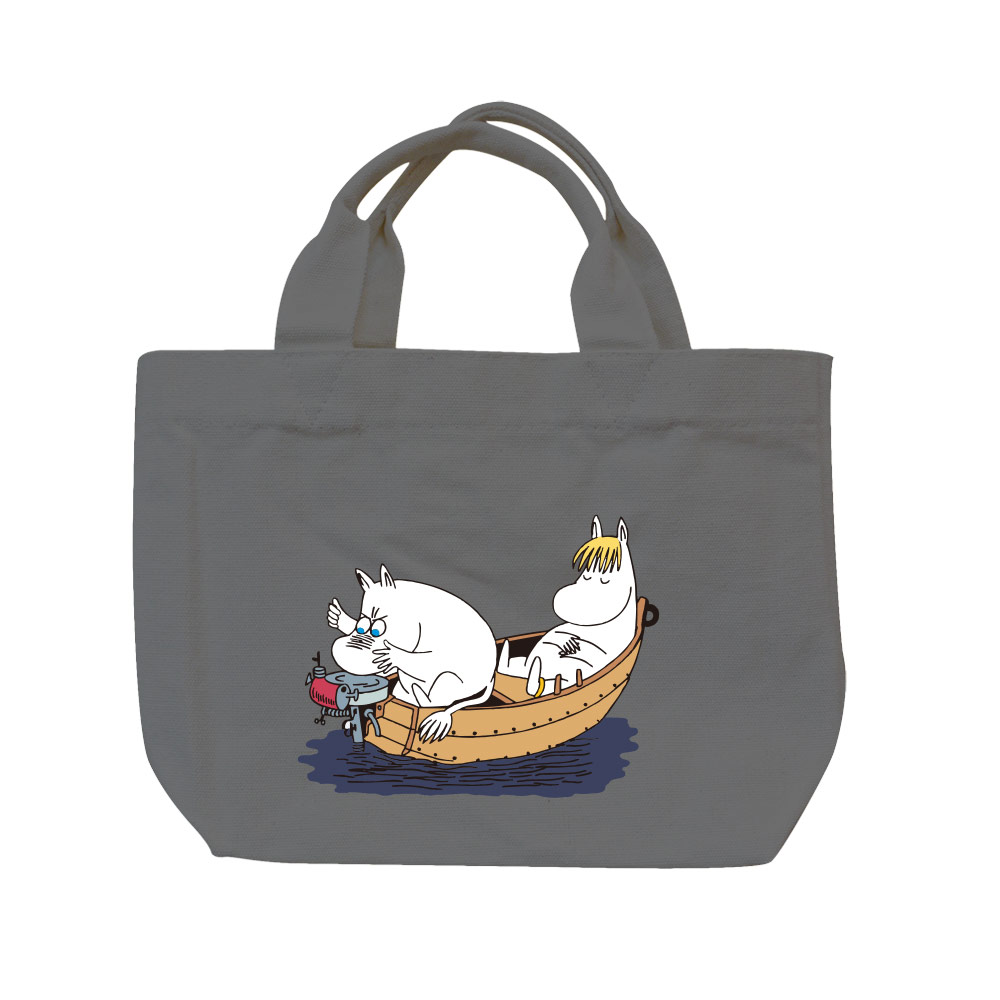 YOSHI850 Moomin嚕嚕米正版授權:彩色托特包【05 moomin捕魚趣(鐵灰)】
