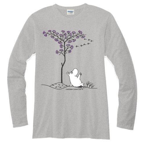 YOSHI850|Moomin嚕嚕米正版授權【05 悠閒】長袖T-shirt (修身/中性)麻灰色