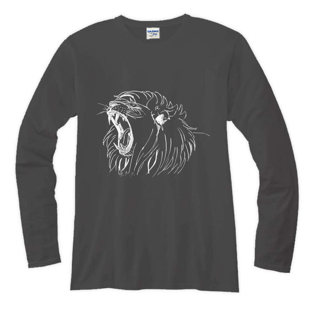 YOSHI850|新創設計師系列-伊黛萱【02 獅吼】長袖T-shirt (修身/中性)黑色