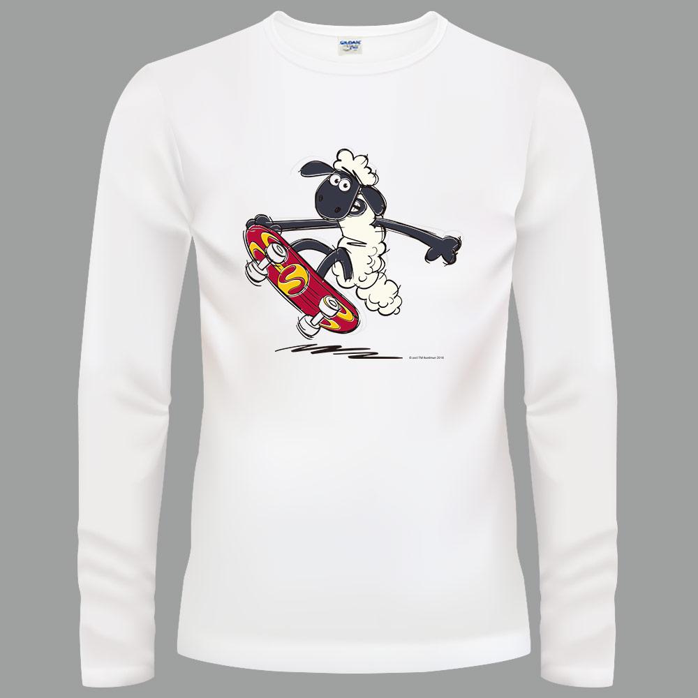 YOSHI850|笑笑羊正版授權【03 滑板小子】長袖T-shirt (修身/中性)白色