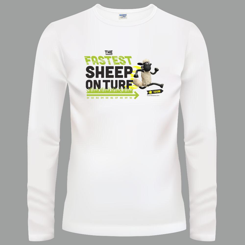 YOSHI850|笑笑羊正版授權【07 Go Shaun Go!】長袖T-shirt (修身/中性)白色