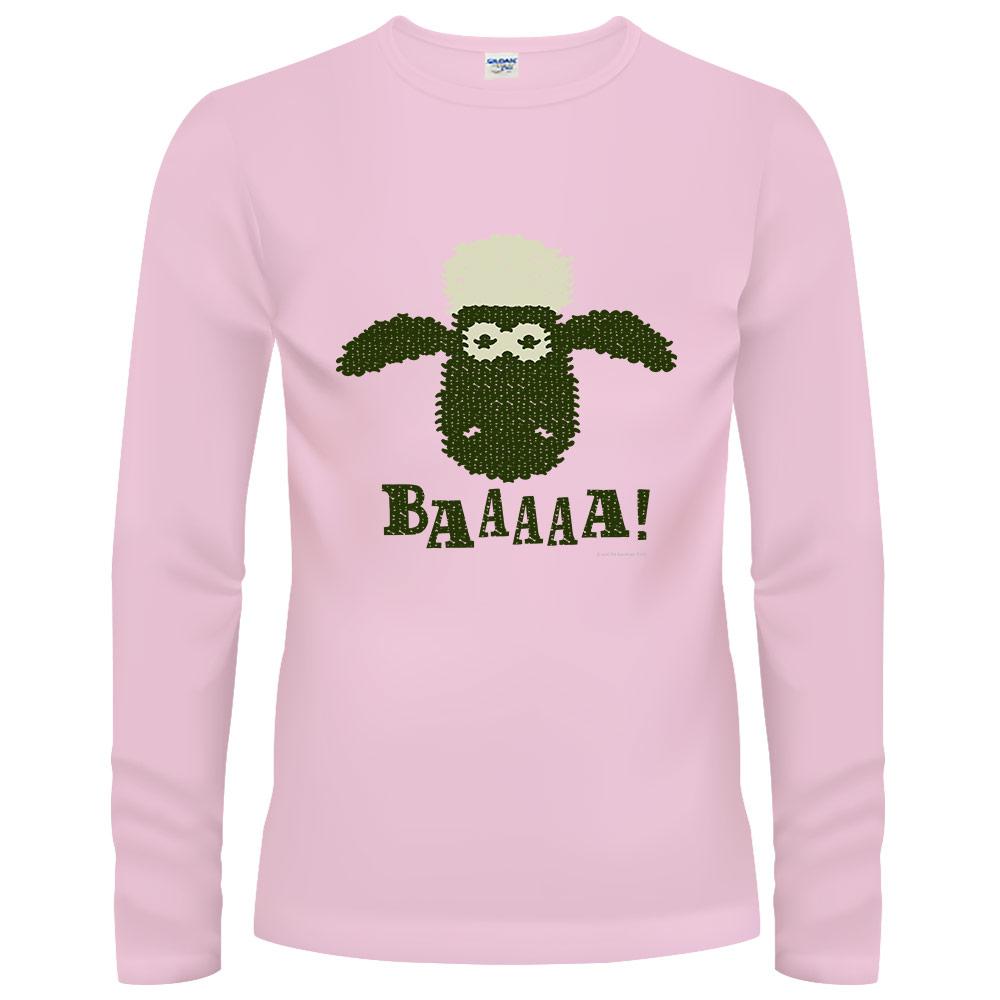 YOSHI850 笑笑羊正版授權【21 BAA!!!】長袖T-shirt (修身)粉紅色