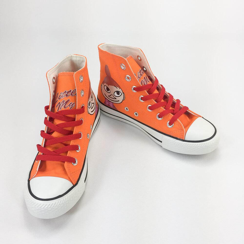 YOSHI850|Moomin嚕嚕米正版授權:帆布鞋【03橘鞋紅帶】